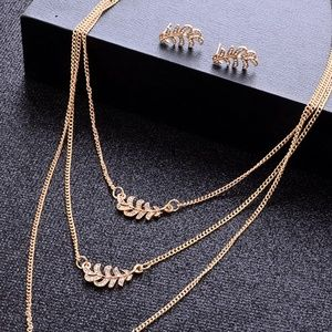 Leaf Pendant Layered Necklace and Earring Set